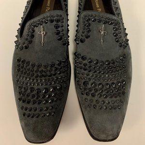 Cesare Paciotti Black Studded Suede Men Loafers 10